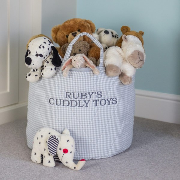 Grey Gingham Toy Storage Basket