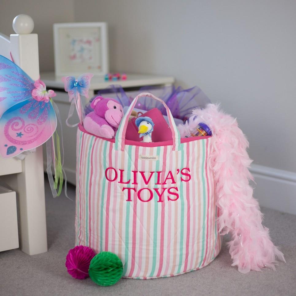 Multi-Striped Toy Storage Basket