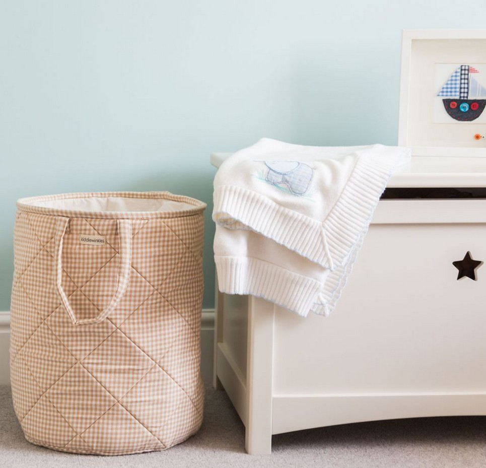 Neutral Gingham Laundry Basket
