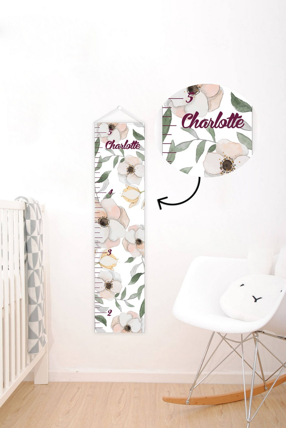 Floral Personalised Baby Growth Chart