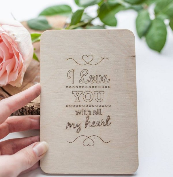 I Love You With All My Heart' Valentine's Wood Card – 2