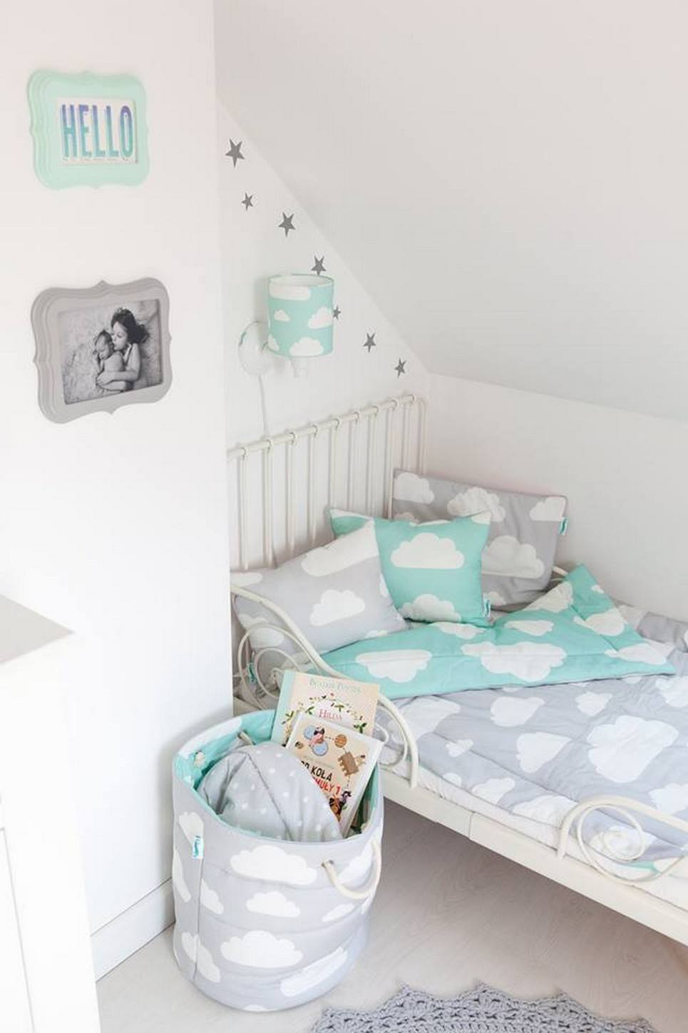 Mint & Grey Clouds Children's Bedding Set