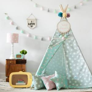 The perfect setting for imaginative play, the Mint & Grey Stars Children's Teepee is as good to look at as to play in. It can easily be used inside your home or in the garden as well as on the terrace.