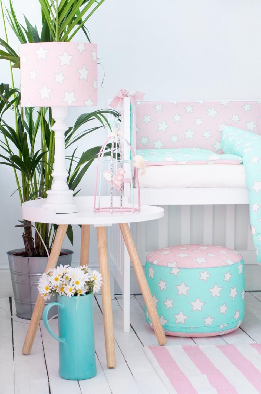 Pink & Mint Stars Crib Bumper
