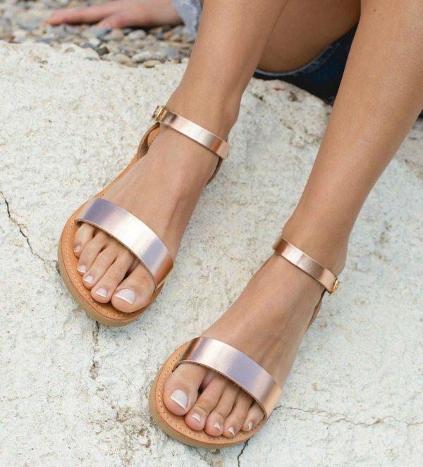 Aphrodite Rose Gold Greek Leather Sandal – 5