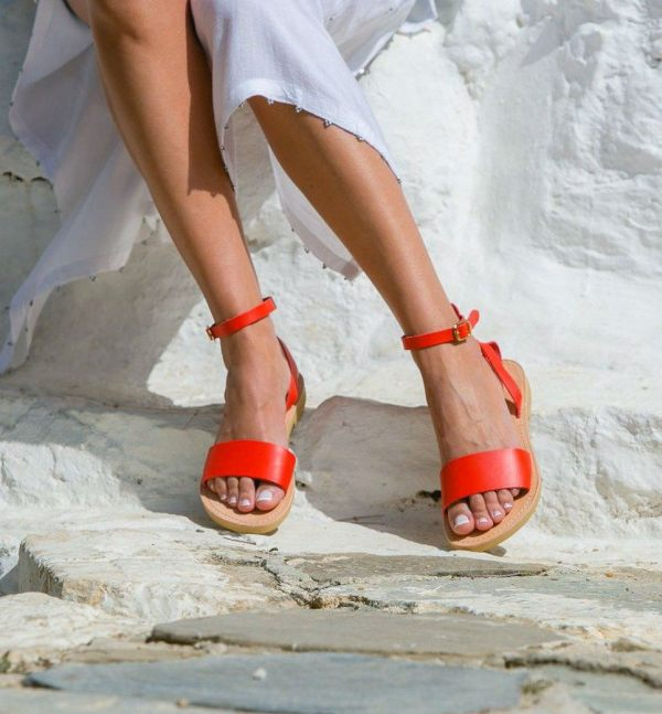Erato Coral Red Greek Leather Sandal – 4