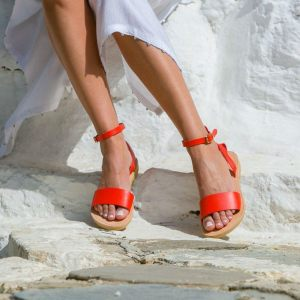 Just what every summer wardrobe needs, the Erato Coral Red Greek Leather Sandal is every woman's dream pair, super comfy and elegant, and easily combined with any outfit.