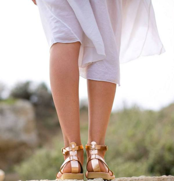 Erato Rose Gold Greek Leather Sandal – 4