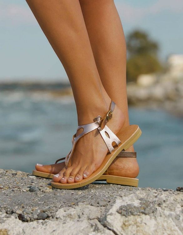 Just what every summer wardrobe needs, the Eros Rose Gold Greek Leather Sandal is every woman's dream pair, super comfy and elegant, and easily combined with any outfit.