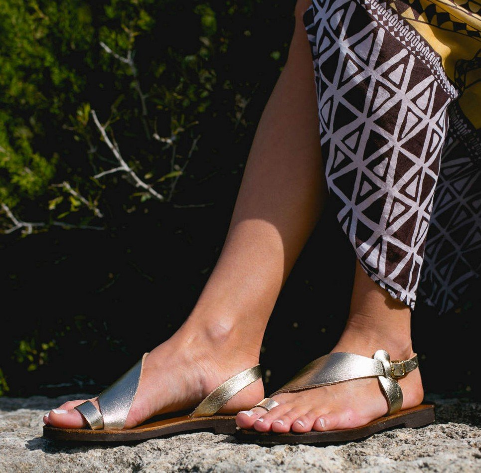 Daphne Gold and Brown Greek Leather Sandal – 4