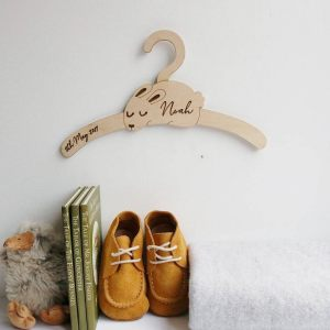 A sweet way to hang your baby clothes or to use as an everyday storage solution, the Little Rabbit Baby Coat Hanger adds a touch of elegance to your wardrobe or downstairs coat closet.