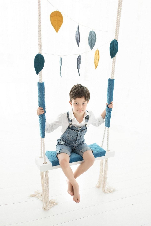 Blue Velvet Wooden Swing Set