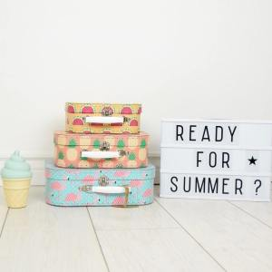 Create and store lasting memories for children of all ages with the Tropical Set Of Three Suitcases. The suitcases can be stacked on top of each other to make for a striking and adorable decoration for baby's nursery or child's room.