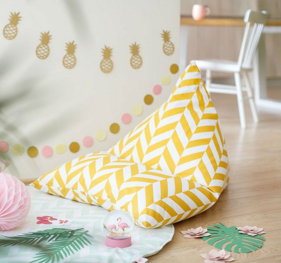 Mustard Herringbone Children's Bean Bag – 3