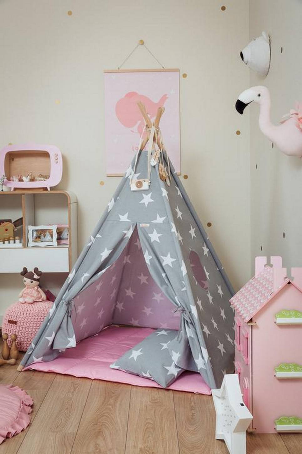 Large Stars Children's Teepee Set with Pink Mat