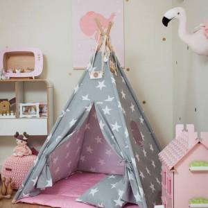 Let your little ones create their own little world with the Large Stars Children's Teepee Set with Pink Mat. It creates the perfect setting for imaginative role play providing endless hours of fun.