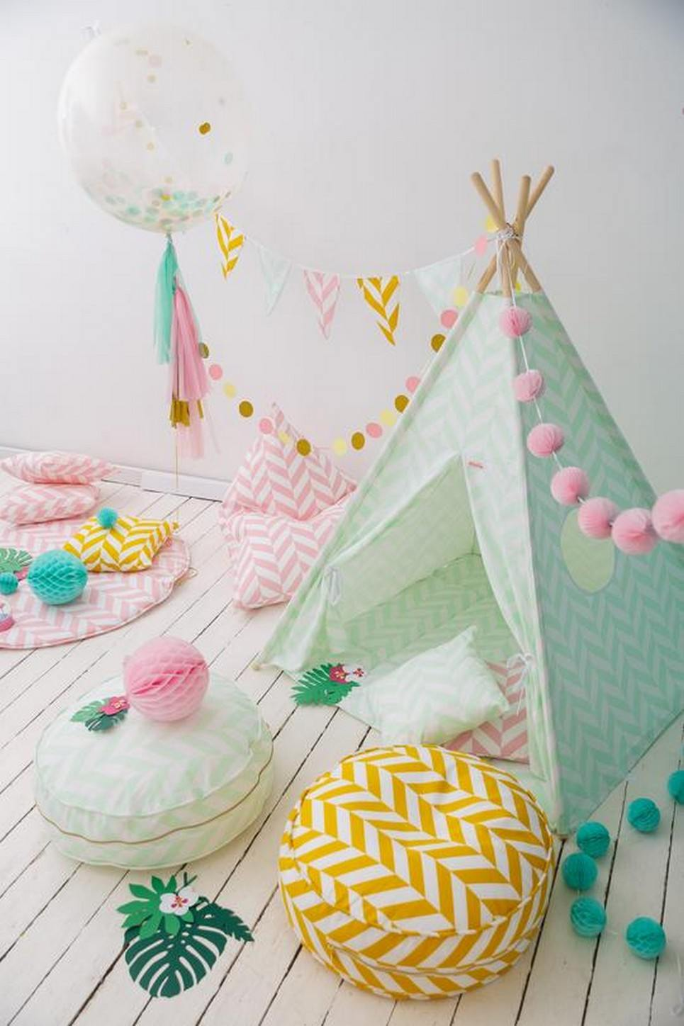Mint Herringbone Children's Teepee Set