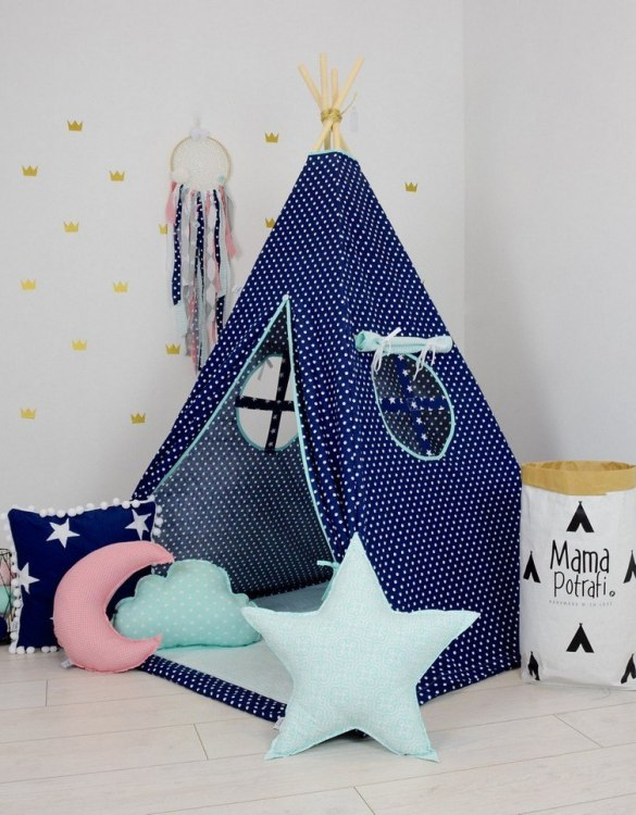 A perfect hideaway for tiny people, the Mint Night Children's Teepee Set gives your little one the space they need to let their imagination flow.