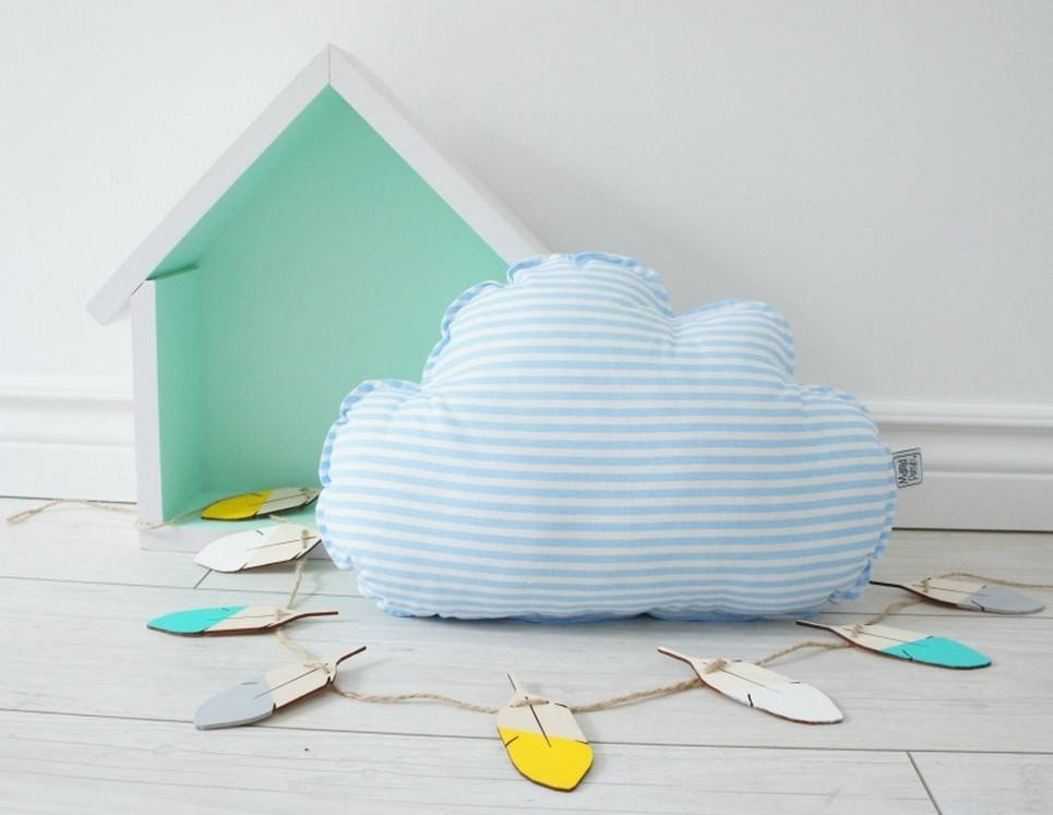Small Cloud Turquoise Decorative Pillow