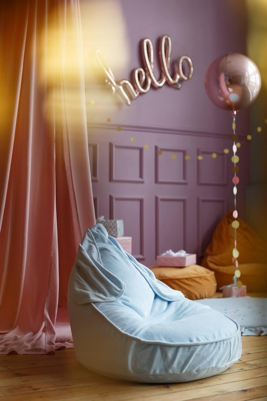 Bunny Velvet Blue Children's Bean Bag