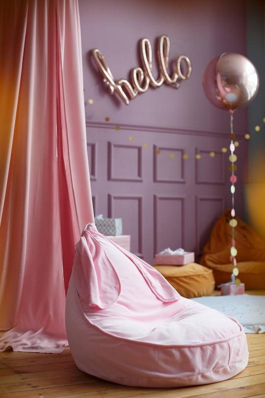 Bunny Velvet Pink Children's Bean Bag