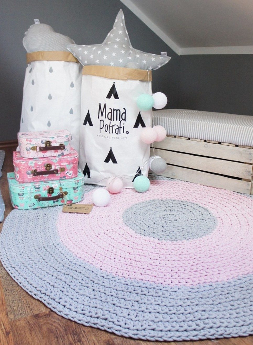 Grey, Pink and Grey Children Crochet Rug