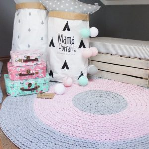 A one-of-a-kind addition to timeless interiors, the Grey, Pink and Grey Children Crochet Rug offers a relaxed comfortable feel of elegance for the modern home. This nursery rug will stand out bold and bright against your floor and bring a quirky and charming vibe to your home.