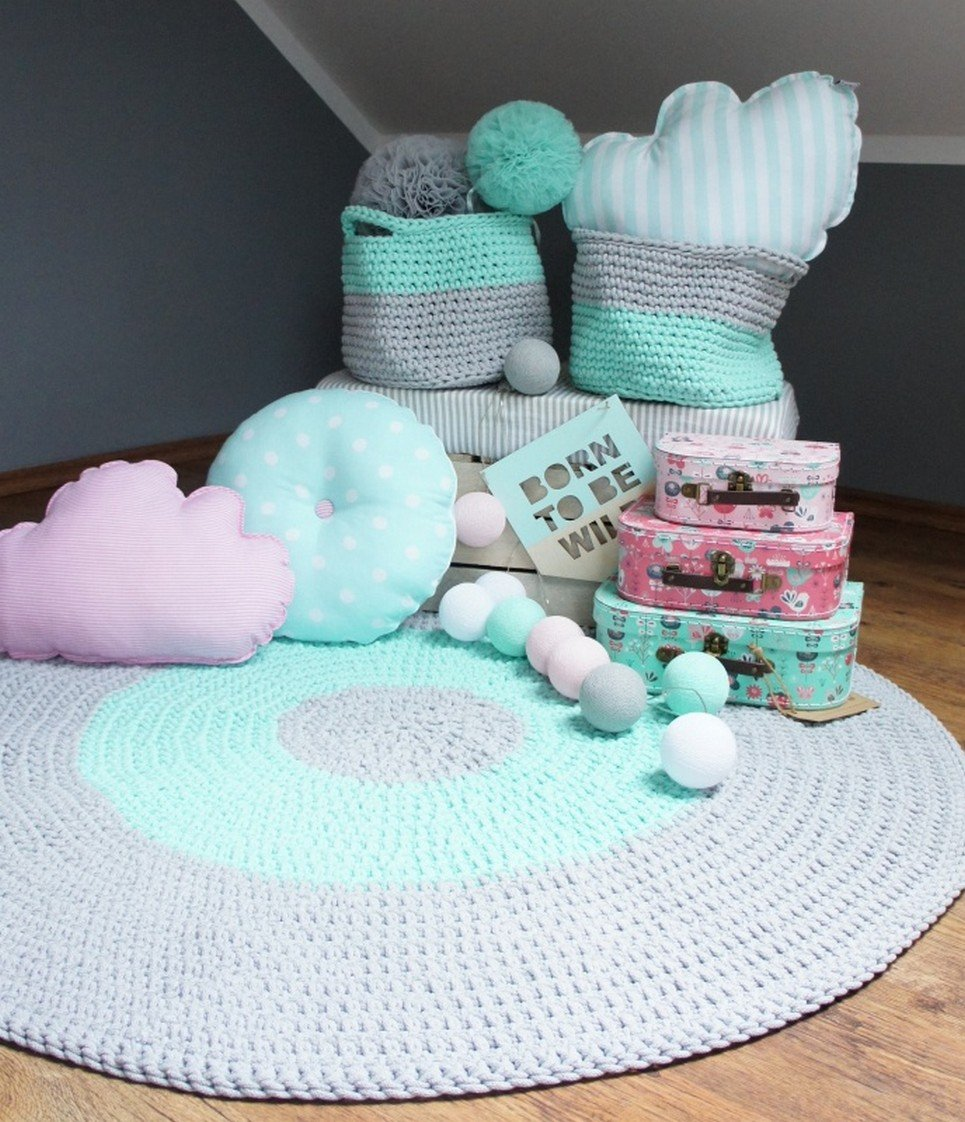 Grey and Mint Children Crochet Rug