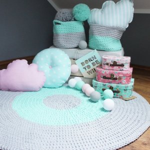 A one-of-a-kind addition to timeless interiors, the Grey and Mint Children Crochet Rug offers a relaxed comfortable feel of elegance for the modern home.This nursery rug will stand out bold and bright against your floor and bring a quirky and charming vibe to your home.