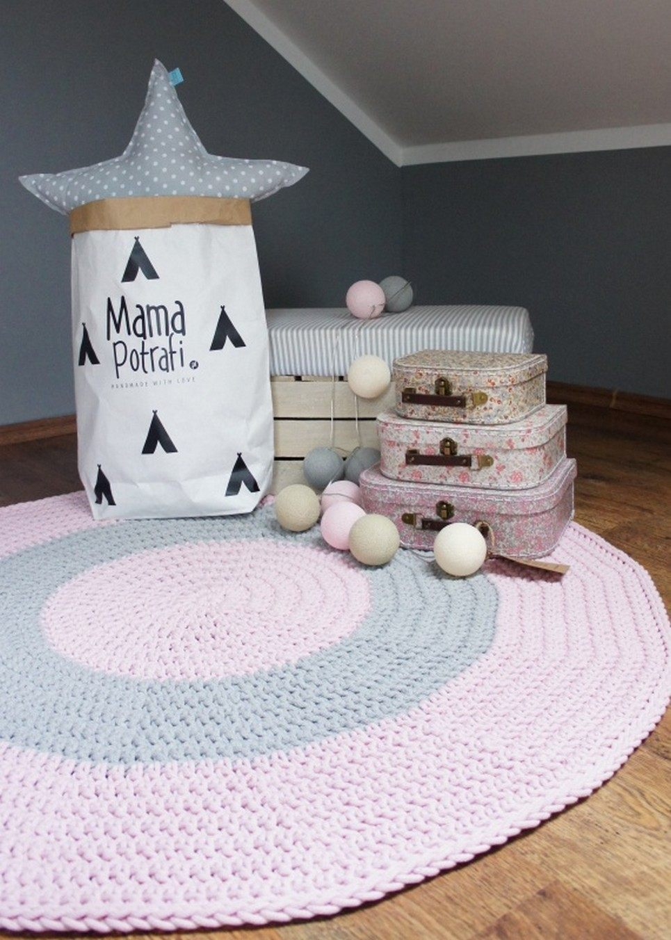 Pink and Grey Children Crochet Rug