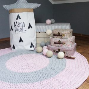 A one-of-a-kind addition to timeless interiors, the Pink and Grey Children Crochet Rug offers a relaxed comfortable feel of elegance for the modern home. This nursery rug will stand out bold and bright against your floor and bring a quirky and charming vibe to your home.