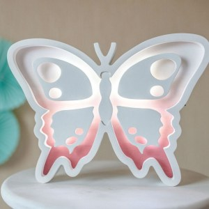 Perfect for setting a calm moon in your kid's bedroom, the Butterfly Decorative Night Light gives a soft glow when turned on.