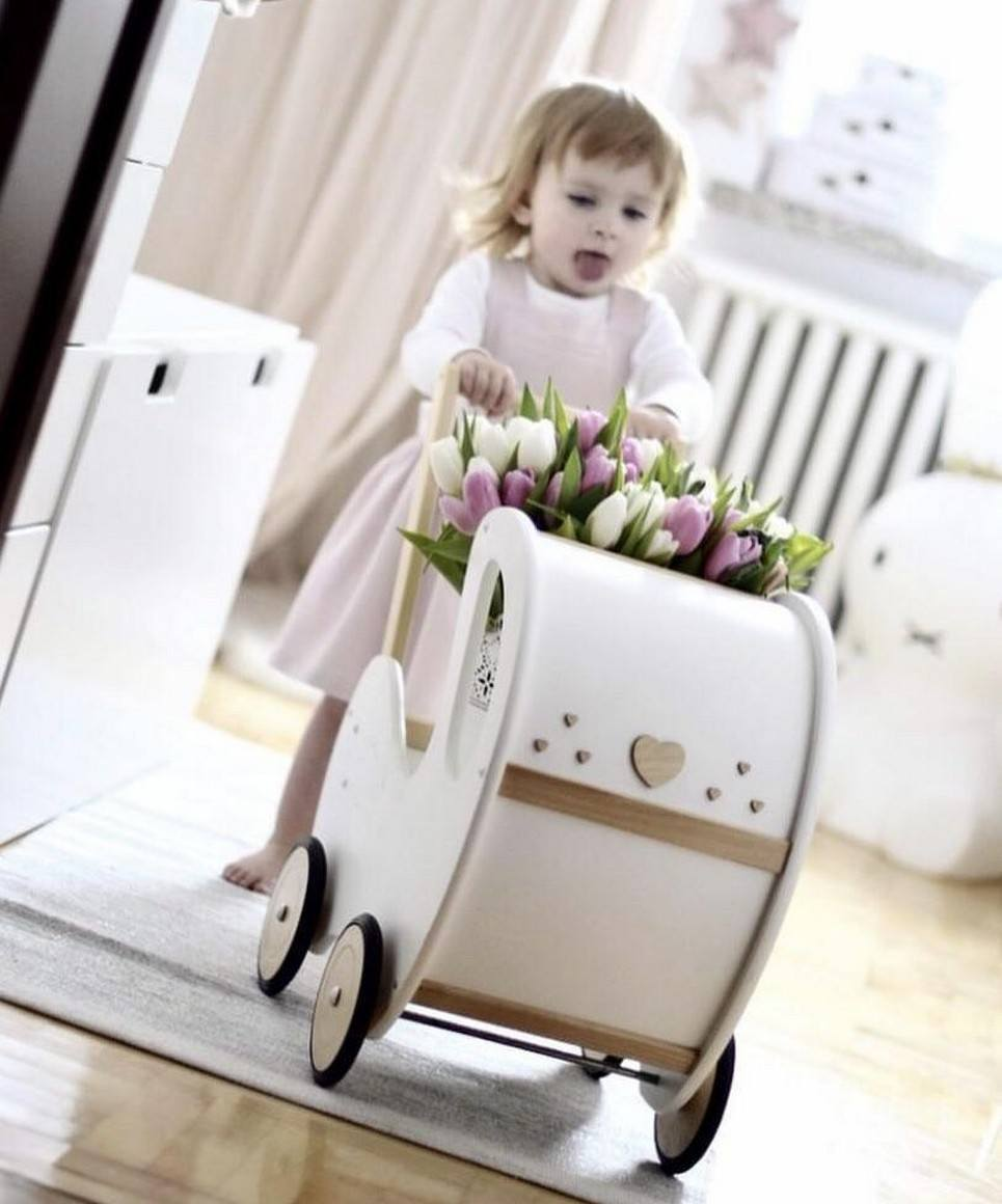 Handmade Wooden Doll Pram White & Natural Wood Nat Decor