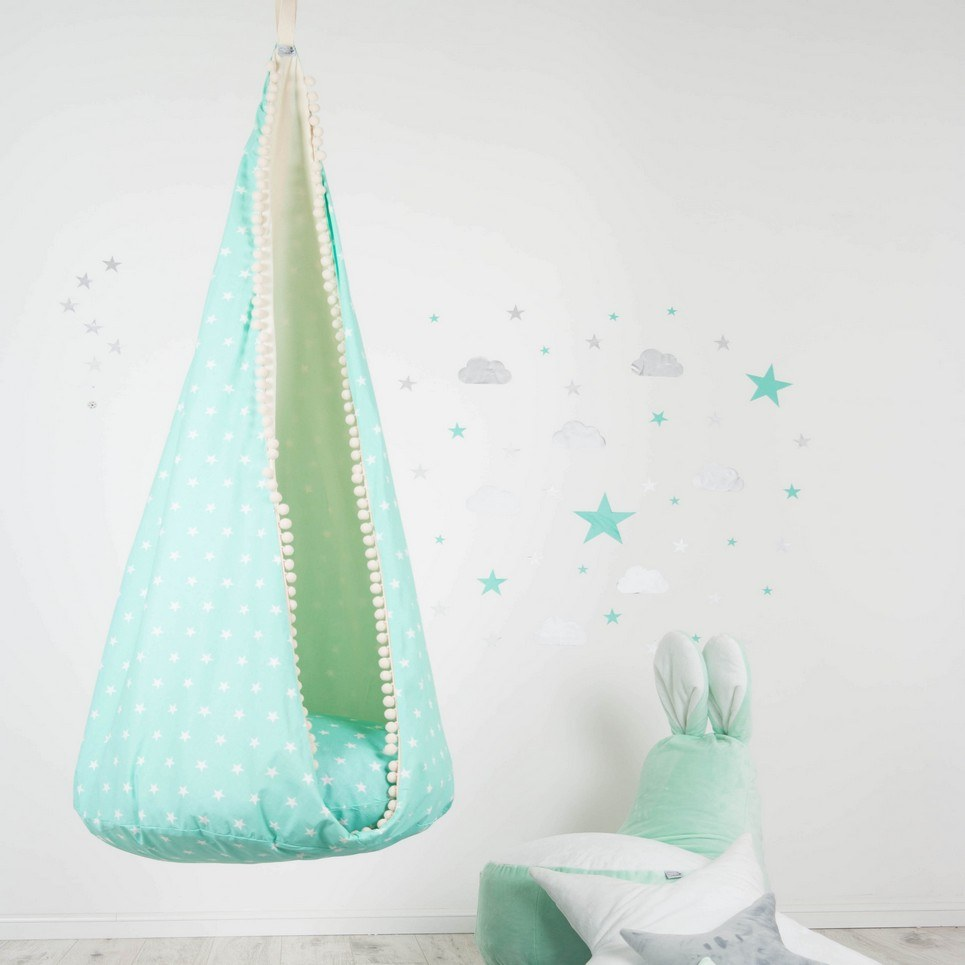 Hanging Cocoon Chair Swing Willow-Green Sky
