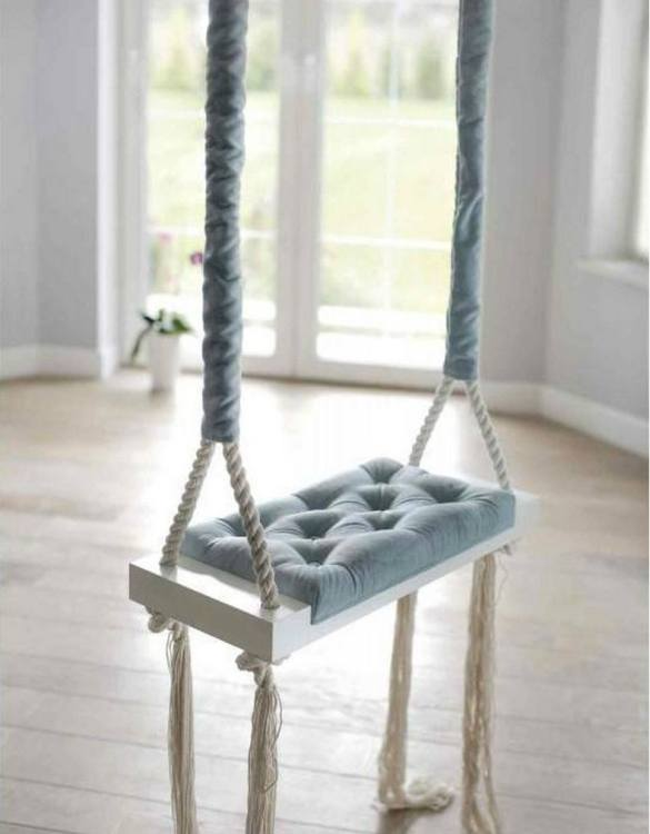 Whether you want it to take you to the moon or simply be a fun place to hang out, the Wooden Swing Vintage Light Blue Velvet offers great fun for toddlers. Every child loves to play on a toddler swing. This unique toddler wooden swing is beautifully handsaw and an absolute classic. This wooden swing set would also make a lovely gift and is ideal for smaller gardens.