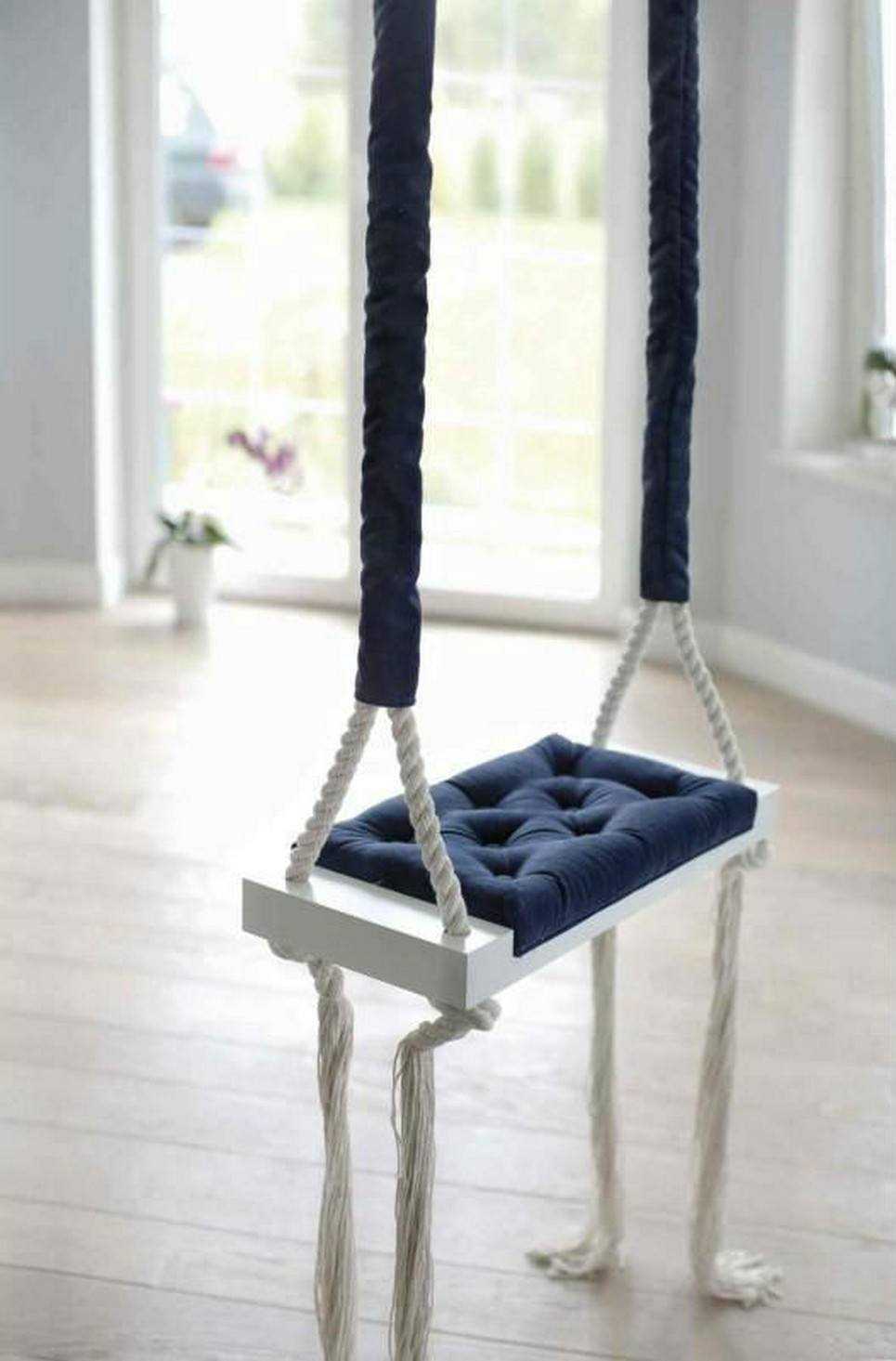 Wooden Swing Vintage Navy Blue Velvet