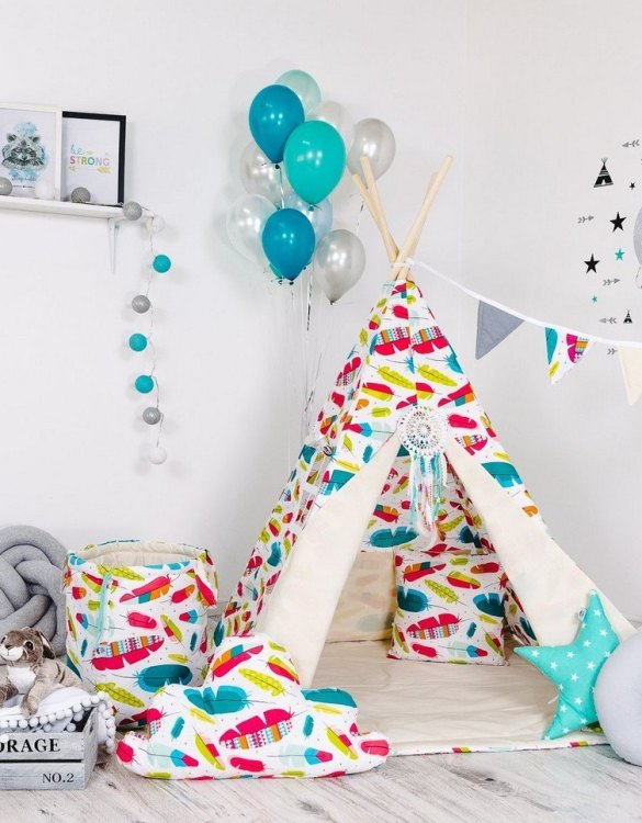 Give your little one the space they need to let their imagination flow with the Child's Teepee Set Colourful Wind. This handcrafted children's teepee tent is a versatile play space which is as beautiful as it is fun.