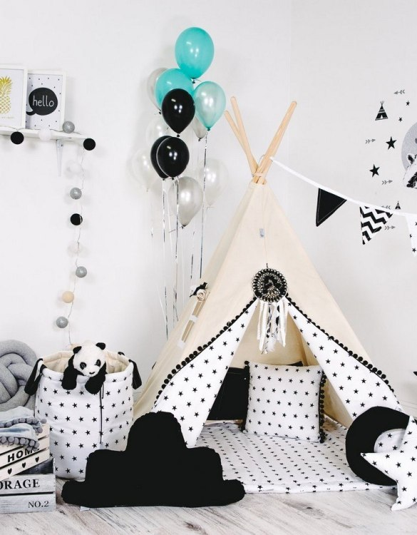 Give your little one the space they need to let their imagination flow with the Child's Teepee Set Cream Spark. This handcrafted children's teepee tent is a versatile play space which is as beautiful as it is fun.