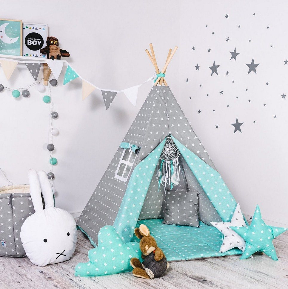 Child's Teepee Set Minty Dust