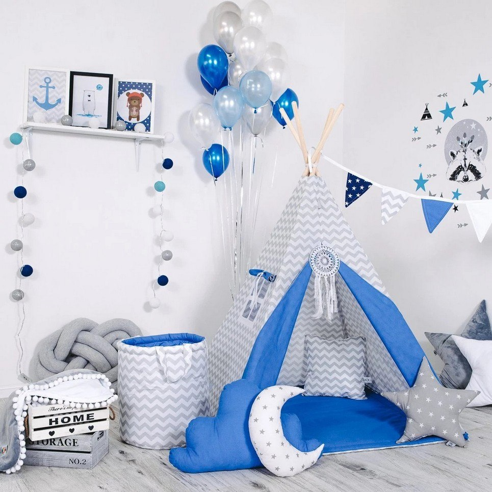 Child's Teepee Set Police Zig Zag