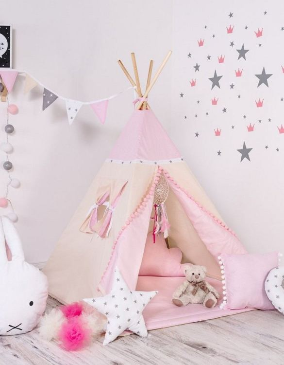 Give your little one the space they need to let their imagination flow with the Child's Teepee Set Princesses. This handcrafted children's teepee tent is a versatile play space which is as beautiful as it is fun.