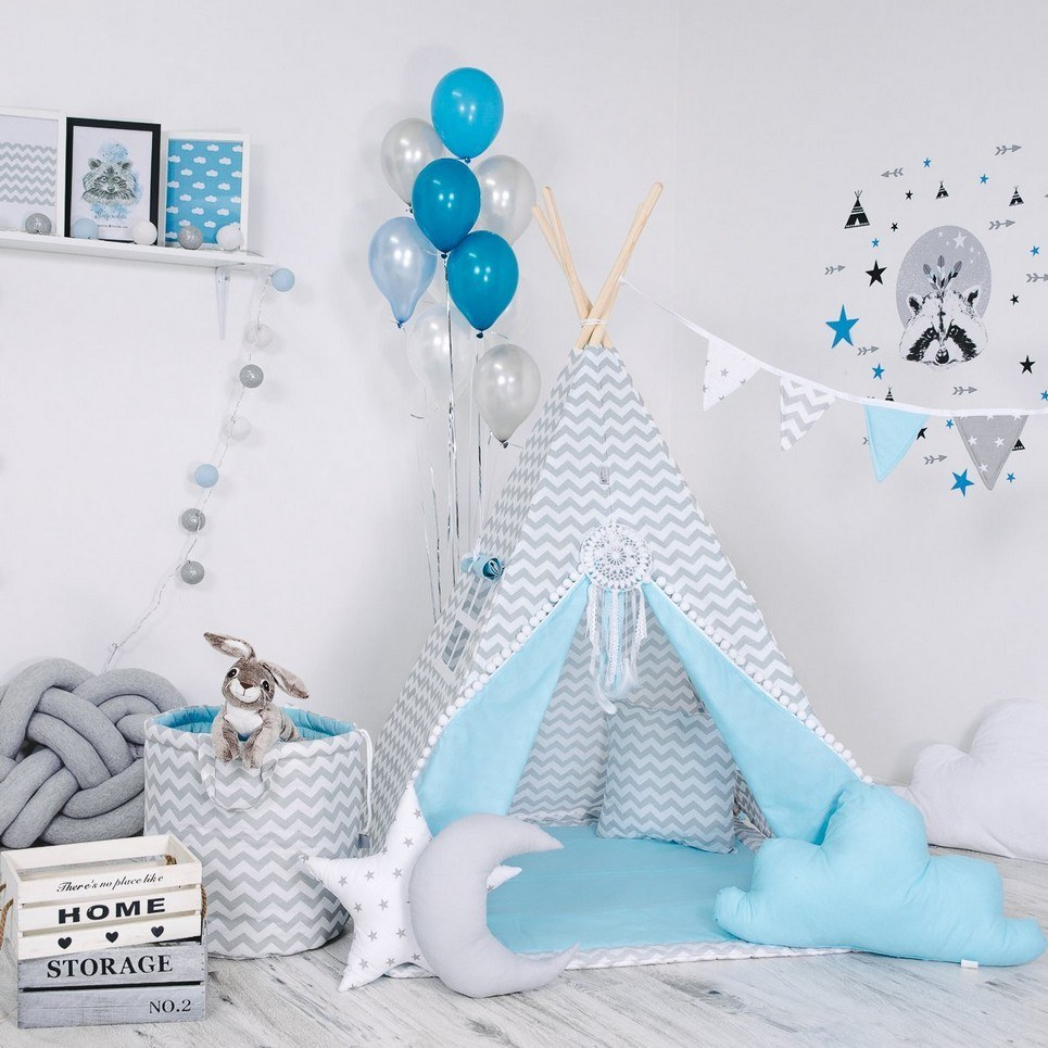 Child's Teepee Set Blue Nap