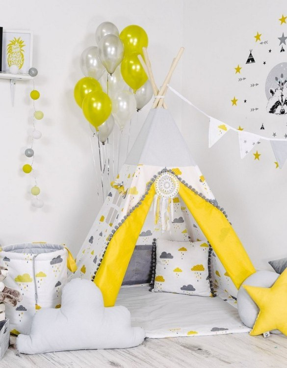 Give your little one the space they need to let their imagination flow with the Child's Teepee Set Raining Clouds. This handcrafted children's teepee tent is a versatile play space which is as beautiful as it is fun.