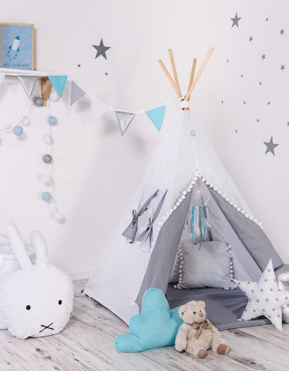 Give your little one the space they need to let their imagination flow with the Child's Teepee Set White Angel. This handcrafted children's teepee tent is a versatile play space which is as beautiful as it is fun.