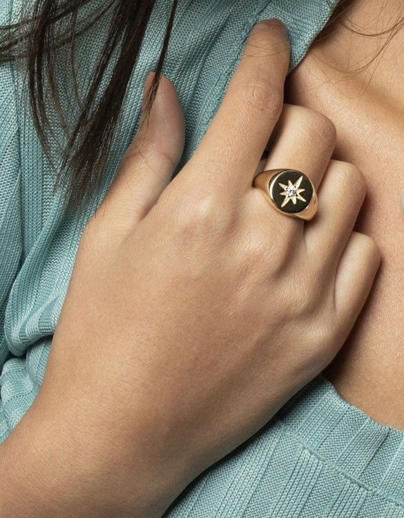 A truly luxurious gift for a friend, or a special treat for yourself, the Polaris Signet Gold Ring is a cool way to show a little love. It would be a perfect anniversary, Christmas or birthday gift.