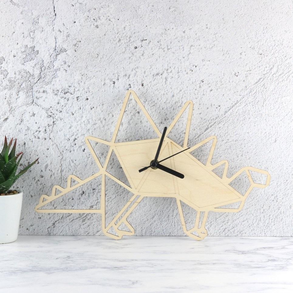 Decorative Wall Clock – Geometric Stegosaurus