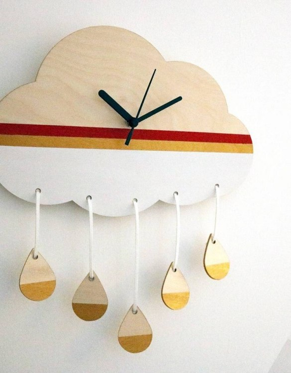 Can be hung up on a wall or placed on a shelf the Decorative Wall Clock - Rain Cloud will make learning to tell the time lots of fun for young children. This bedroom wall clock looks amazing on the wall of a daughter, son, grandchild, or godchild's playroom, bedroom or nursery.