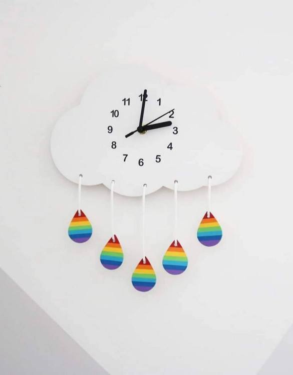 Can be hung up on a wall or placed on a shelf the Decorative Wall Clock - Rainbow Rain Cloud will make learning to tell the time lots of fun for young children. This bedroom wall clock looks amazing on the wall of a daughter, son, grandchild, or godchild's playroom, bedroom or nursery.