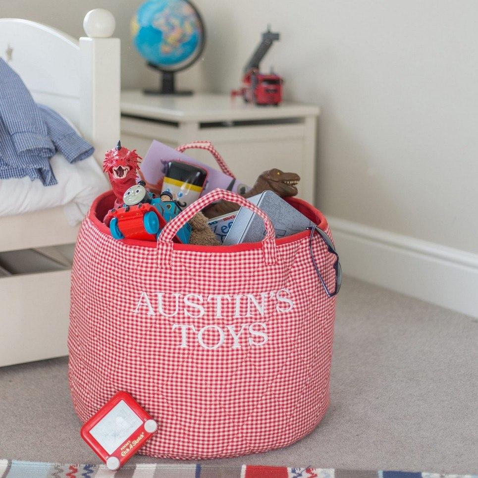 Red Gingham Toy Storage Basket