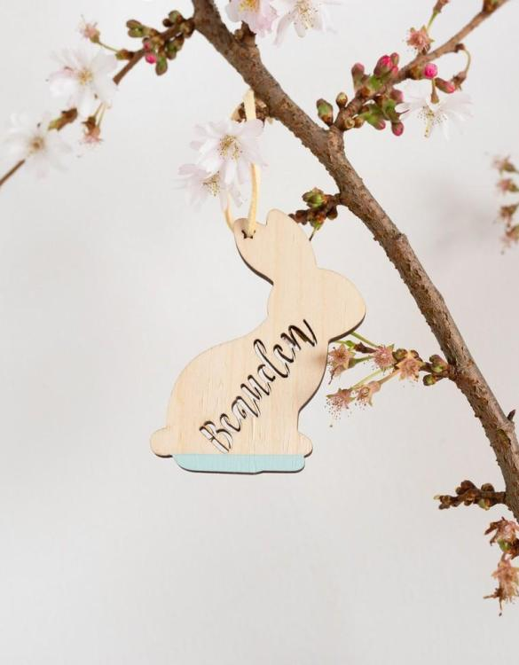 A detailed hanging decoration for Easter, the Easter Bunny Hanging Decoration that everyone will love to keep. Ideal as a way of marking the spring season, these personalised Easter decorations are great accessories for your celebration.